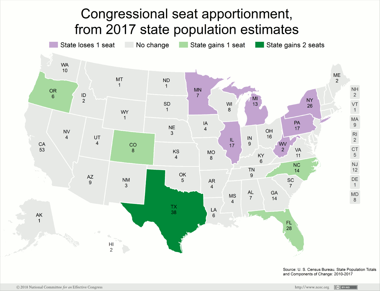 Map of potential apportionment changes, 2017